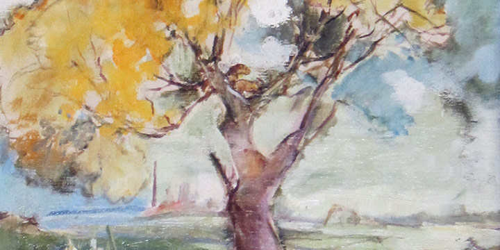 Elizabeth Honor Dolan, Untitled (landscape with tree), oil on canvas, n.d.