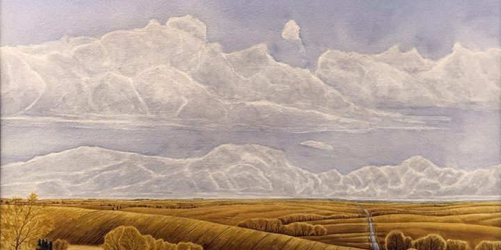 Anne Burkholder, Horizon 820: Road to Loma (Nebraska), watercolor, c. 1980s