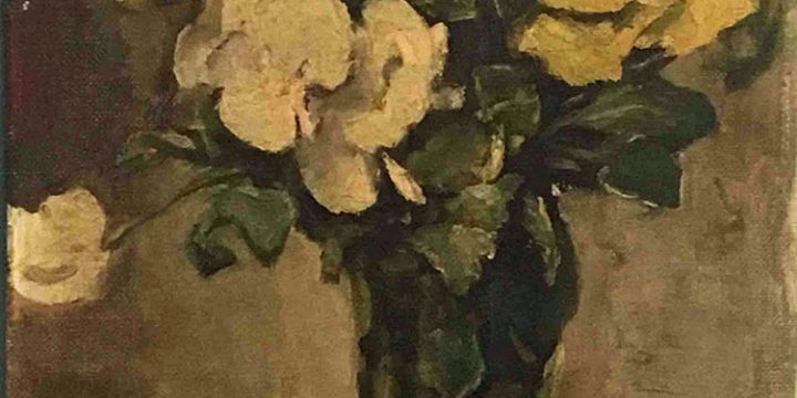 Eulabee Dix, Untitled (yellow and white flowers in a vase), oil on board, n.d.