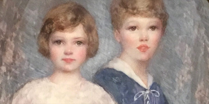 Eulabee Dix, Joan and Dix (Eulabee Dix's children), watercolor on ivory encased in decorative box with articulated double doors, 1918, 2017.07.01