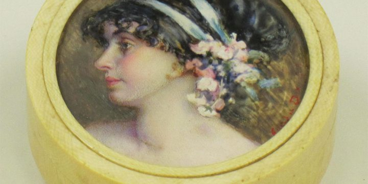 Eulabee Dix, Untitled Miniature (portrait of a woman after Edward Burne-Jones), watercolor on ivory, n.d.