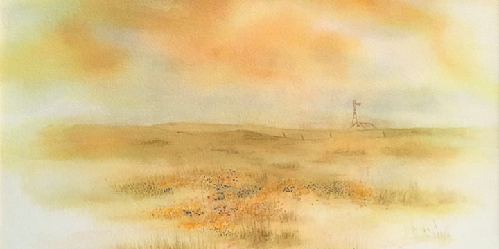 Charlotte E. Lantz, Grass Country Spring,  watercolor