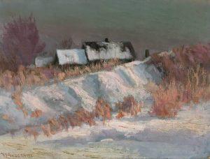 Robert F. Gilder, Snow Scene, oil , 1911