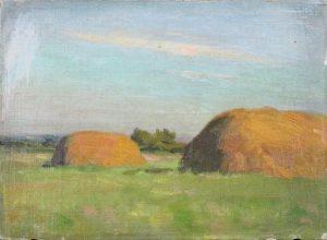 Robert F. Gilder, Haystacks, oil on canvasboard, 1901