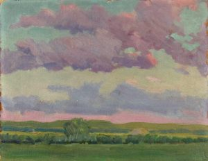 Robert F. Gilder, Lavender Clouds, oil on board, n.d.