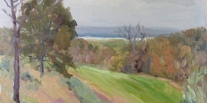 Robert F. Gilder, Wooded and Bare Tree, oil, n.d.