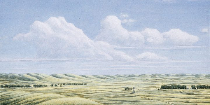 Anne Burkholder, Horizon 665, Sandhills North of North Platte, oil on canvas, 1991