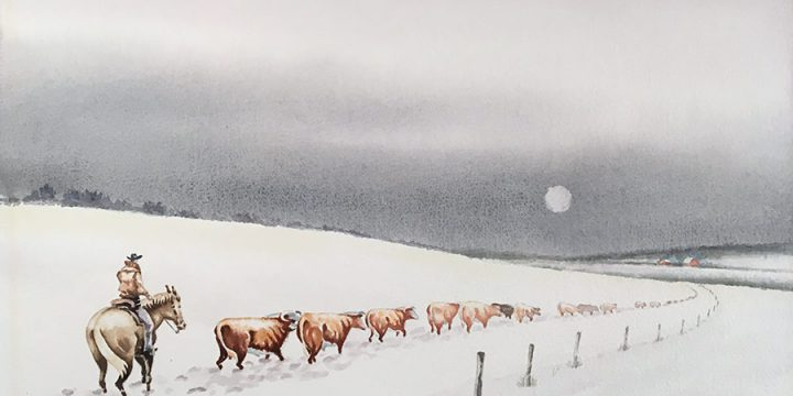 Ralph Hawkins, Untitled, (cattle drive), watercolor, n.d.