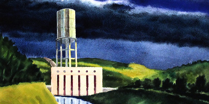 Ralph Hawkins, North Platte Pumping Station, watercolor, n.d.