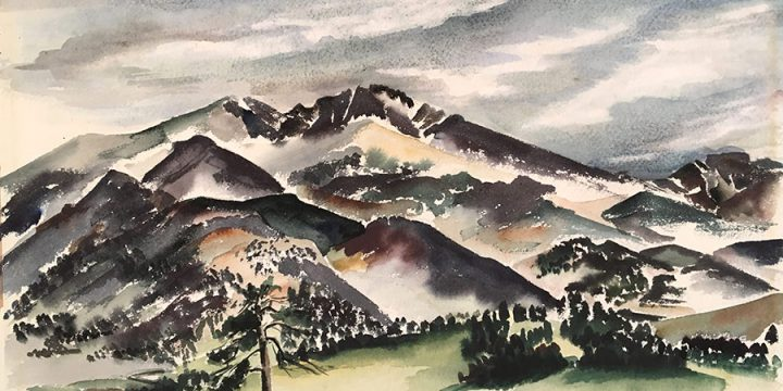 Elizabeth Ferguson, Mountain Meadows, watercolor, 1948