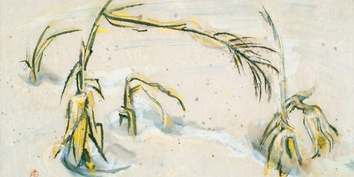 Dwight Kirsch, Corn in the Snow, watercolor on rice paper, 1960