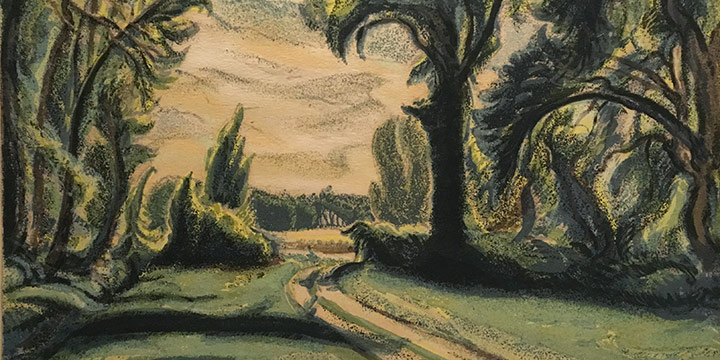 Dwight Kirsch, Hay Meadow Road, serigraph (edition 85), 1941