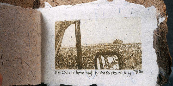 Betty L .Kjelson, Across Nebraska --- By Canoe, artist book: etching on saw grass, cattail, linen paper (1/10), 1982