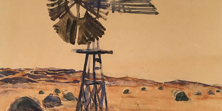 Dwight Kirsch, Nebraska Sandhills, watercolor, 1936