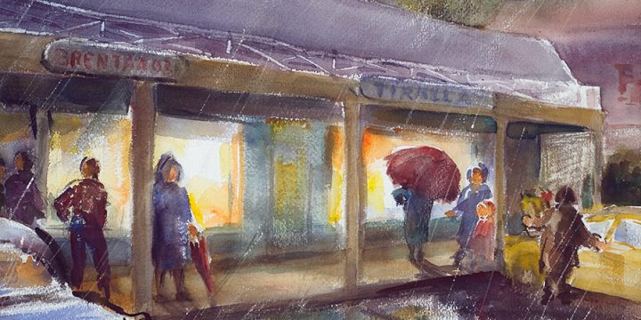 Dorothy Van Houten Harrison, Rainy Day at the Shopping Center, watercolor, 1977