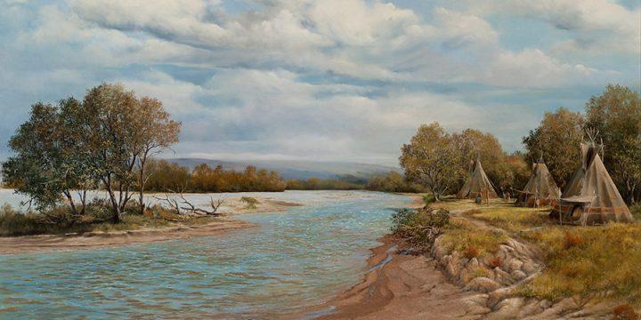 Jack Hetterich, Platte River Scene, oil on linen, 1985