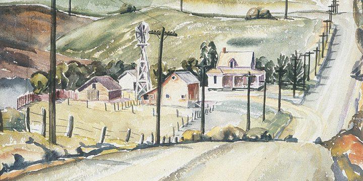 Gladys Lux, Valley Farm, watercolor, 1935