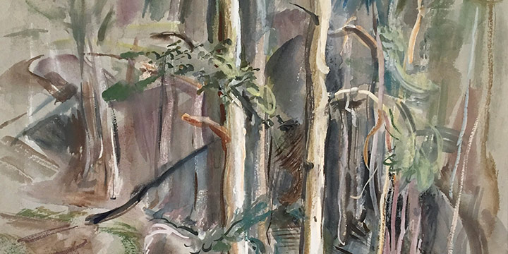 Dwight Kirsch, Untitled (trees), watercolor, 1946