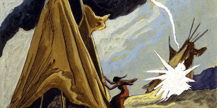 Thomas Hart Benton, Bolt of Lightning, watercolor, 1945