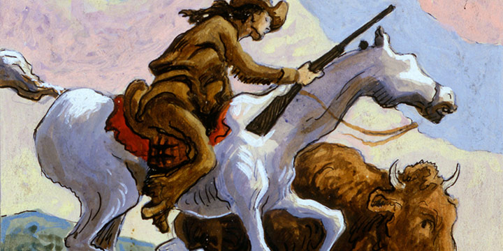 Thomas Hart Benton, Buffalo Hunter, watercolor, 1945