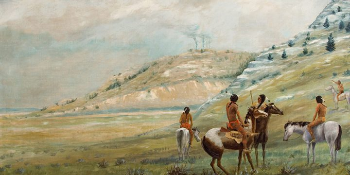 Miles Maryott, Indian Scouts, oil on canvas, 1919