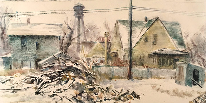 Dwight Kirsch, Snow on Woodpile, watercolor, 1940
