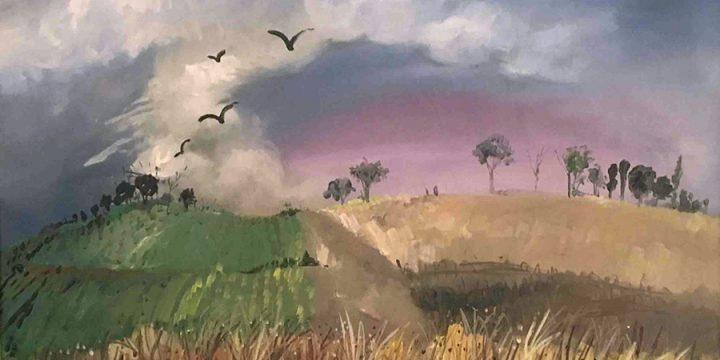 Keith Martin, Landscape, Nebraska, oil on canvas, 1946