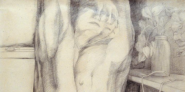 Francis Kraft, Female Figure with White Rose, graphite, 1979