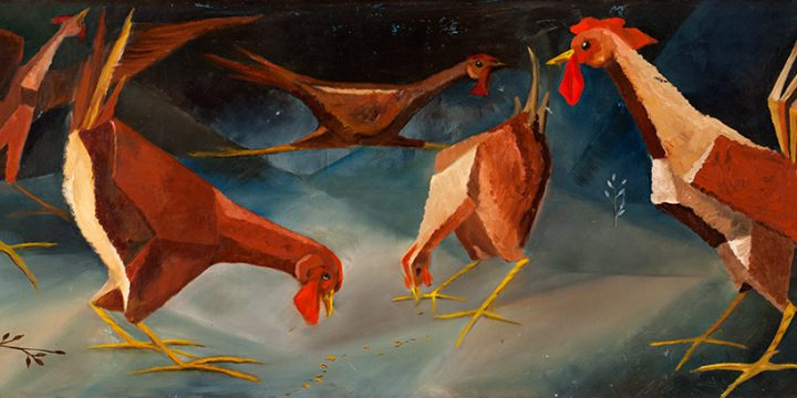 Shirley Martin, Fowl Play, oil on linen, c. 1957