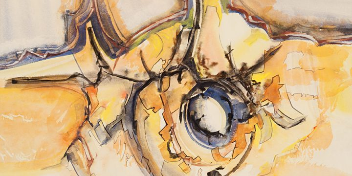 Jack Karraker, Untitled (abstract), watercolor on paper, 1973