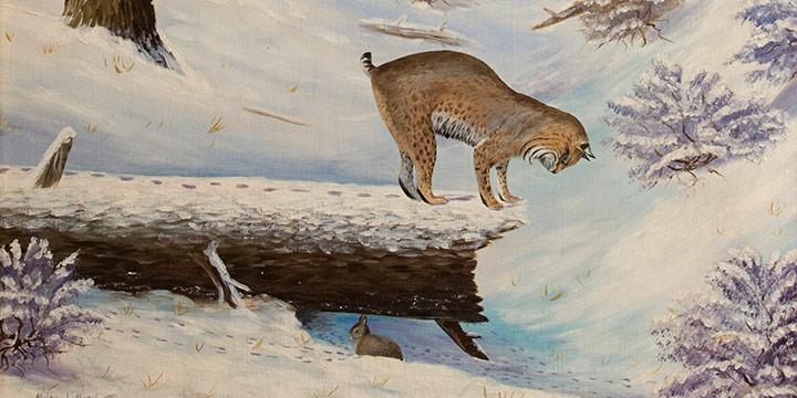 Miles Maryott, Bobcat and Rabbit, oil on canvas, 1929
