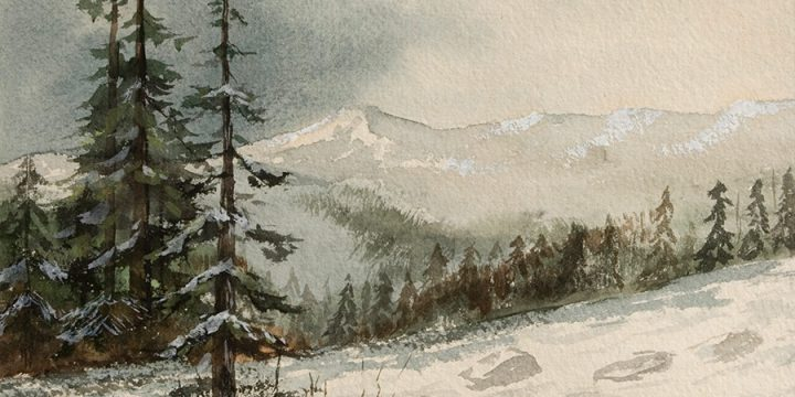 Miles Maryott, Untitled (landscape), watercolor, n.d.