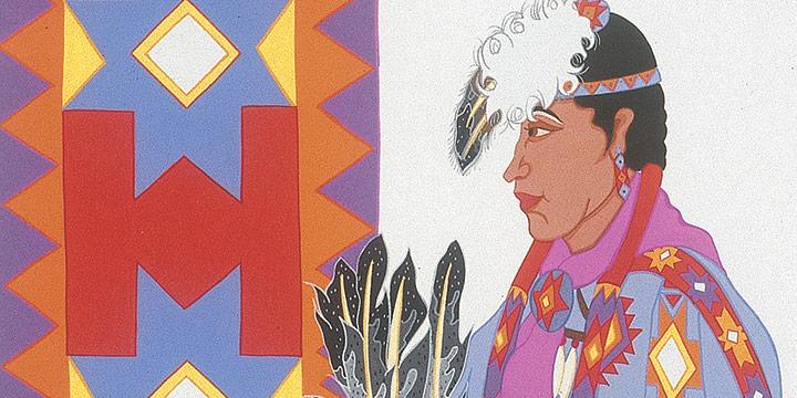 Laurie Houseman-Whitehaw, Lakota Woman, gouache on paper, 1999