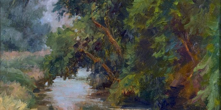 Pat Mahan, Classic Country-Kearney Canal, oil on board-field study, 1999
