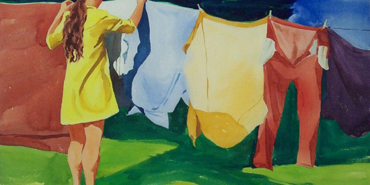 Howard Kaye, Untitled (hanging clothes), watercolor, c. 1992