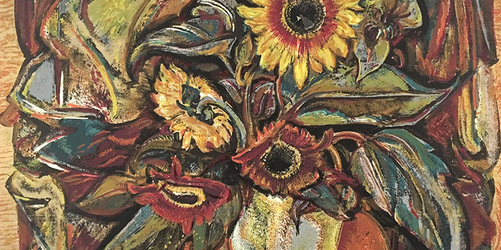Dwight Kirsch, Sunflowers, silkscreen (edition of 44), 1946