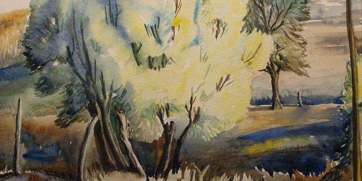 Gladys Lux, Landscape, watercolor, n.d.