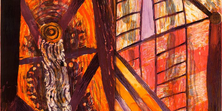 Karen Kunc, Old Garden, vitreograph, glass plate etching 1992