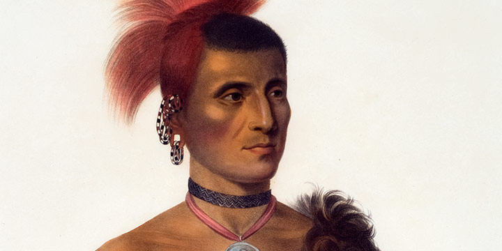 Charles Bird King, Pes-Ke-Le-Cha-Co, A Pawnee Chief, handcolored lithograph, 1841