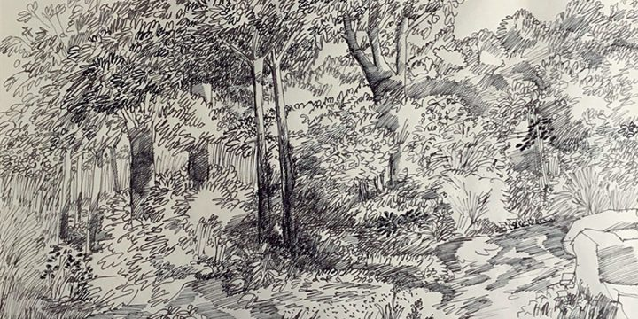 William Lyberis, Untitled (landscape), ink. n.d.