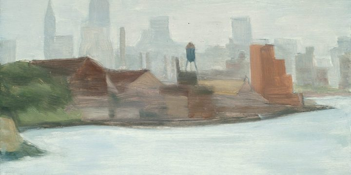 Myron R. Heise, New York City from Queens, oil on board, 1961