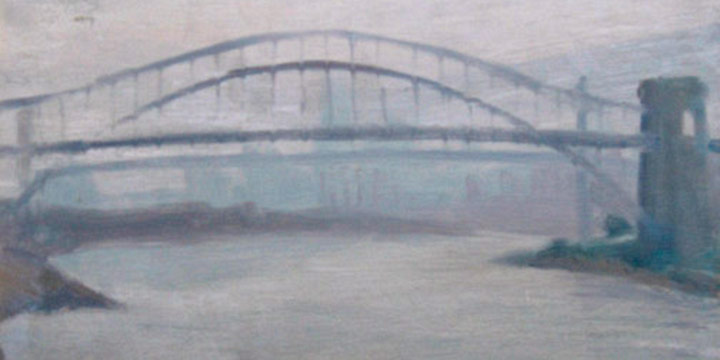Myron R. Heise, Hell's Gate Bridge, oil on board, 1961