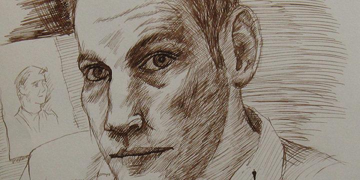 Myron R. Heise, Self-Portrait, December 25, 1964, ink