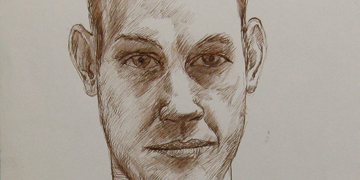 Myron R. Heise, Self-Portrait, December 27, 1964, ink