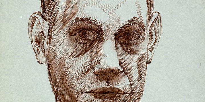 Myron R. Heise, Self-Portrait, December 29, 1964, ink