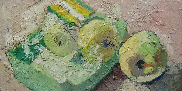 Myron R. Heise, Three Apples, oil on board, 1968