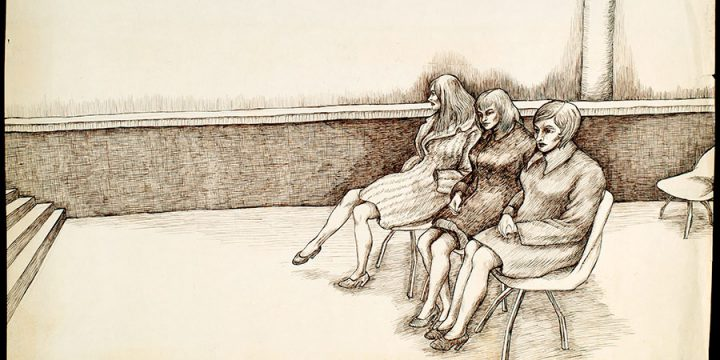 Myron R. Heise, Three Girls in Port Authority Waiting Room -in the Wintertime, ink, 1969