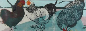 Zenaide Luhr, Untitled (chickens), collage: woodcut, n.d.