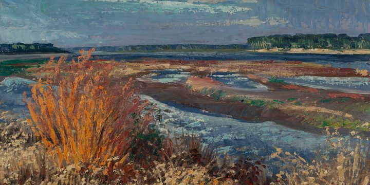 Eugene Kingman, Missouri River near Tekamah, Nebraska, oil on canvas panel, 1958
