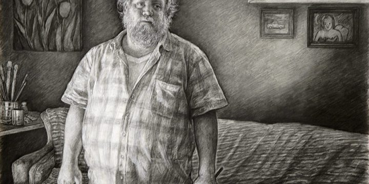 Edgar Jerins, Andy's Living Room, charcoal on paper, 2010